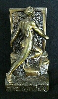 Vintage Bronze Clad  Bookend  The Builder Art Deco Male Nude