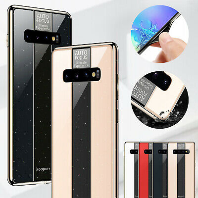 For Samsung S10 Plus Note 9 S8 Case S9 Luxury Tempered Glass Soft Rubber Cover
