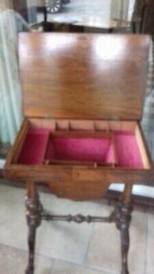 Victorian Walnut Sewing Box / Work Table With Lined Interior