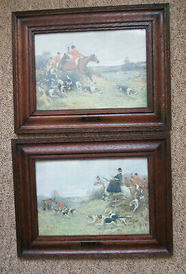 Pair Of Oak Antique Vintage Portrait Picture Frames With Horses And Hounds
