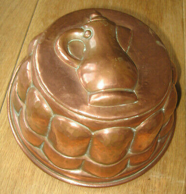 Unusual Victorian Copper Cream Jug Jelly Mould Cake Tin Lined Antique Unused