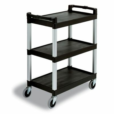 "Continental 5810BK Black 3-Shelf 36"" Bussing / Service Cart"