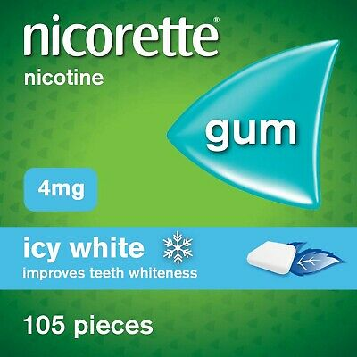 Nicorette Icy White Chewing Whitening Gum, 105 Pieces, 4 mg (Stop Smoking Aid)