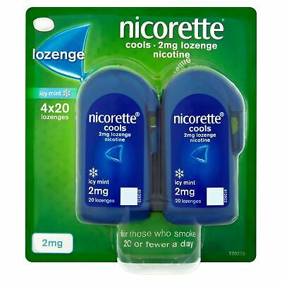 Nicorette Cools 80 Lozenges, 2 mg (Stop Smoking Aid) 2 mg - Pack of 80 Lozenges
