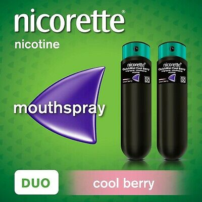 Nicorette Quickmist Mouthspray Duo Pack, Cool Berry, 1 mg (Stop Smoking Aid)