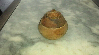 Old Wooden Primitive Antique Hand Carved Bowl Cup With Lid For Salt And Spices