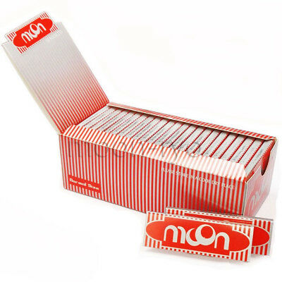 1 Box 50 Booklets Moon Red Cigarette Tobacco Rolling Papers 70*36mm 2500 Leaves