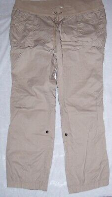 OLD NAVY Tan Khaki Pull-On Roll-Up Convertible Maternity Pants Size Large NWOT