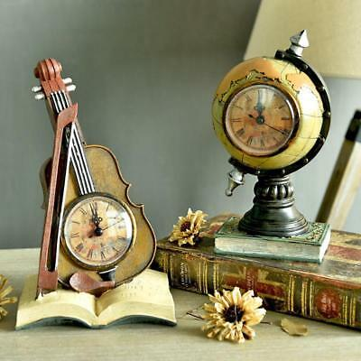 Table Clock Antique Violin Globe Instrument Stand Creative Vintage Quartz Gift