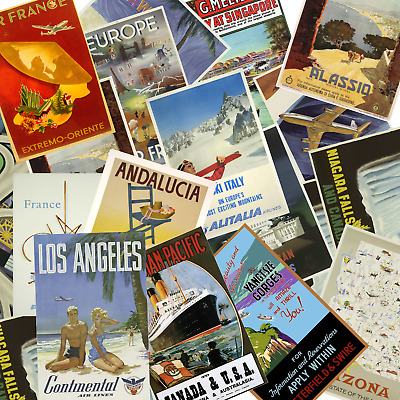 Travel Vintage Tourism Retro Wall Art Decor Posters, A4 and A3 200gsm Gloss