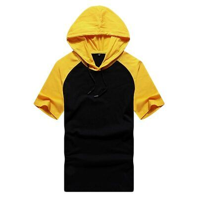 Casual Muscle Basic Shirts Slim Fit Mens Hooded T-shirt Hoodie Tops Short Sleeve