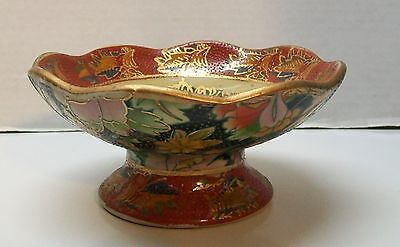 Footed Bowl Women Dancing Polka Dots Flowers Scalloped Trim Vintage Japanese