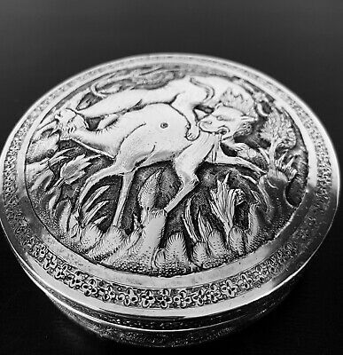 Antique hand engraved Persian Islamic Arabic solid silver round box 189 g