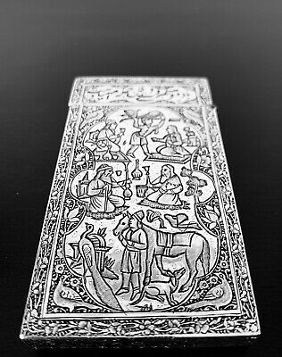 Rare Antique hand engraved Persian Islamic Arabic solid silver card holder 99 g