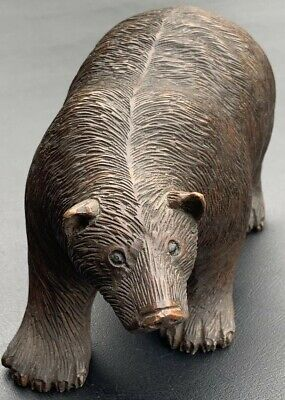 Wonderfully Carved Late 19th Early 20th Century Wooden Black Forest Bear Figure.