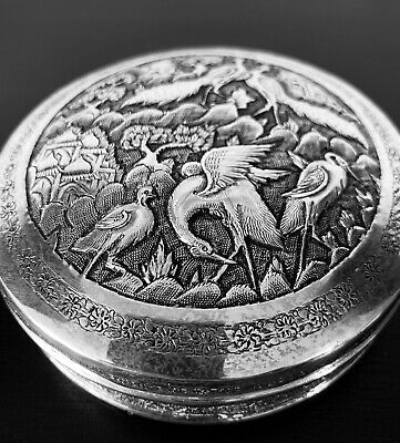 Antique hand engraved Persian Islamic Arabic solid silver round box 164 g