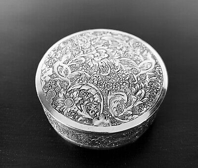 Antique hand engraved Persian Islamic Arabic solid silver round box 48 g