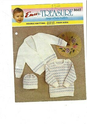 "Emu 8574 Vintage Baby Knitting Pattern Sweater Cardigan Tank Top DK 19-22/"" Repro"
