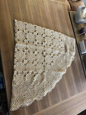 """CROCHET 68"""" Round  TABLECLOTH Tea Stained Tan Medallion"""
