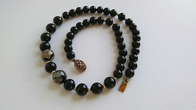 Vintage Chinese cloisonné onyx beads necklace gilded silver 925 filigree clasp