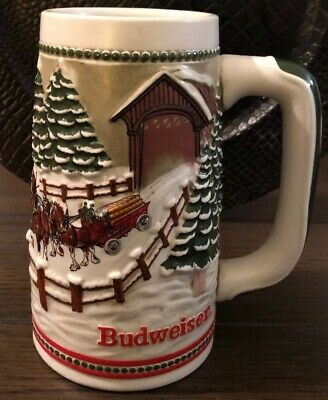 Budweiser Holiday Beer Stein Cyldesdale Horses Christmas Mug