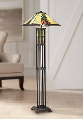 Mission Floor Lamp with Nightlight LED Bronze Tiffany Art Glass for Living Room