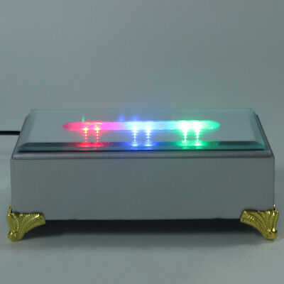 USB 12 LED White Colorful Light Stand Light Base Crystal Glass Display Adapter
