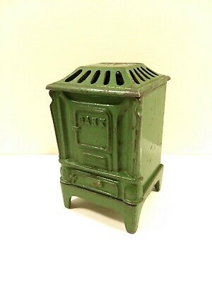 Antique 1875 KENTON TOYS Kenton Ohio HEATROLA FURNACE Green Cast Iron Still Bank