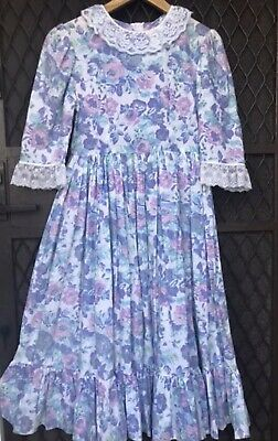 Vintage Prairie Dress 70S Era Full Skirt Laura Style Fabric Is So Beautiful