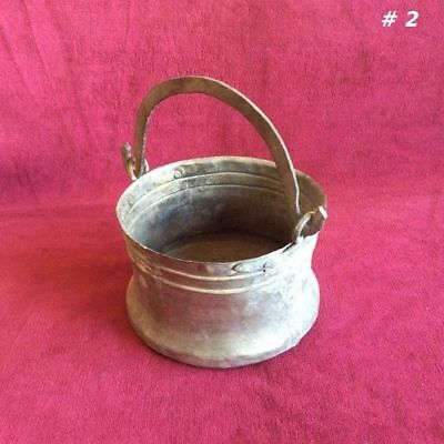 RARE! Antique Primitive Hammered Tinned Copper Vessel Bucket Pail with Handle #2