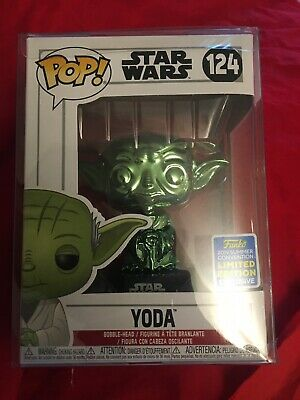 FUNKO POP 2019 SUMMER CONVENTION EXCLUSIVE STAR WARS YODA GREEN CHROME In Case!
