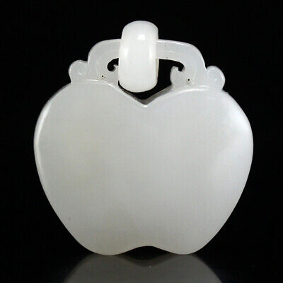 Chinese Natural Hetian Jade Lucky Apple Pendant w Certificate