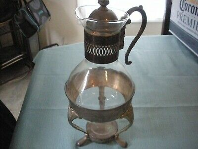 Vintage  Glass Coffee Tea Pitcher with Footed Warmer Stand, Tarnished