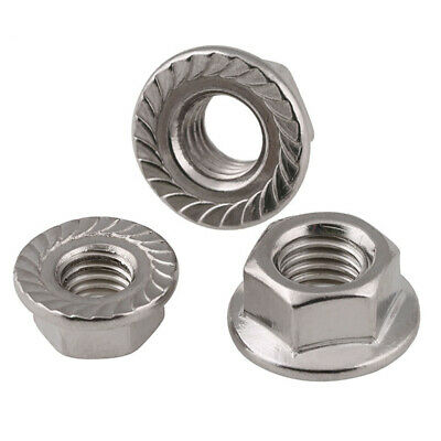 M3,4,5,6,8,10,12 A4 316 Stainless Serrated Flange Lock Nuts to Fit Bolt & Screw