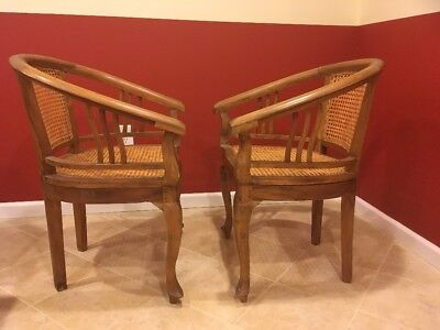 SET 2 TWO Antique Vintage Wood Wooden Country Dining Side Chair  Wicker Seat