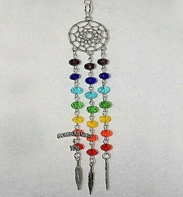 Chakra Dream Catcher Rainbow Sun Catcher Feather Car Rear View Mirror Charm Gift