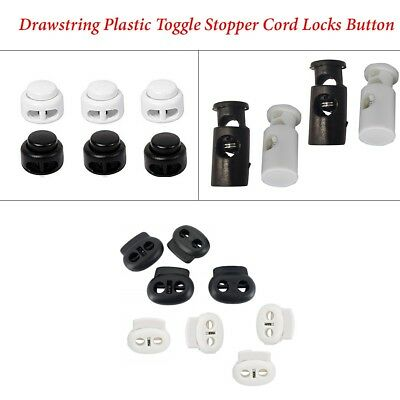 Plastic Drawstring Spring Loaded Cord Stopper Locks With Single & Bean Twin Hole