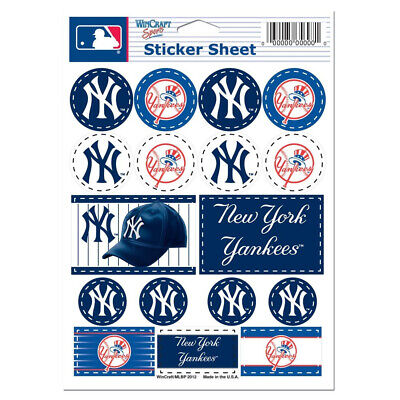 New York Yankees Vinyl Sticker Sheet 17 Decals 5x7 Inches Free Shipping
