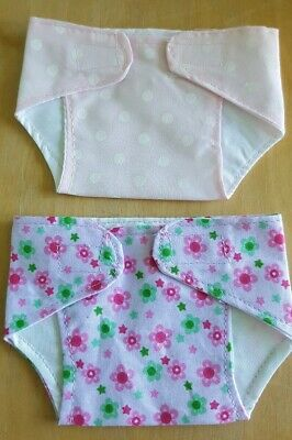 Set of 2 Fabric Nappies for 10-12 inch Baby Dolls/ Reborn  (26)