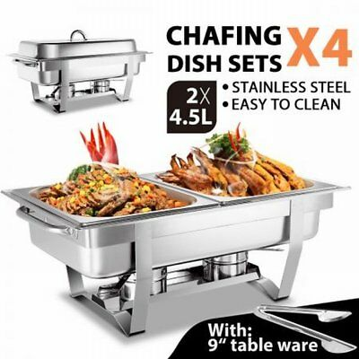 NEW Stackable 4 Sets Bain Marie Bow Chafing Dishes 4x4.5L S/S Buffet Food Warmer