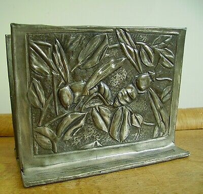 Antique Arts&Crafts Jugendstil Hammered Pewter Letter Rack Moths/Bees (Tudric?)