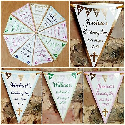 Personalised Christening baptism confirmation Naming Day Banner bunting 10 Flags