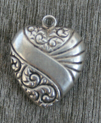 VINTAGE STERLING PUFFY HEART CHARM -Swirls & Lines & Diagonal Banner & Engraving