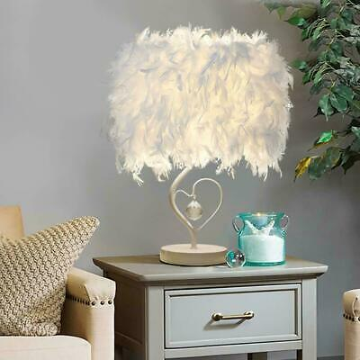 Feather Shade Desk Lamp Night Light Table Bedside Christmas Party Decor K2H6T