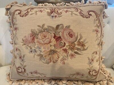 """FRENCH AUBUSSON STYLE,Handmade Needlepoint,Floral cushion/pillow, 22"""" x18"""""""