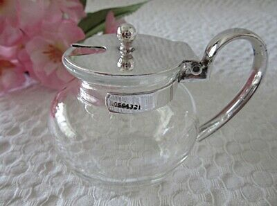 c 1920 SMALL ANTIQUE SILVER PLATE & GLASS CREAMER PATENTED - KIT CAT CLUB LONDON