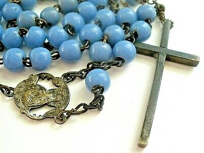 Antique Rosary 1800's French Blue Milk Glass Beads