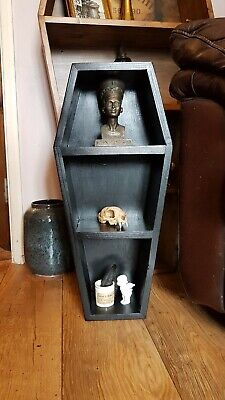 Coffin Shelves 2ft Black Gothic Curio Display Dracula Vampire Horror Halloween