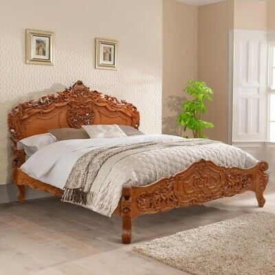Super King 6' Natural RAW solid Mahogany designer chich French style Rococo bed
