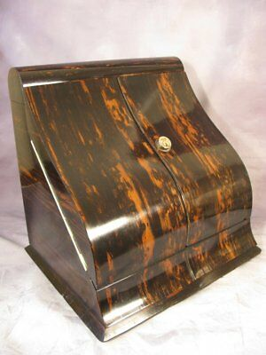 Antique Victorian Vintage English Coromandel Satinwood Stationary Cabinet C1885